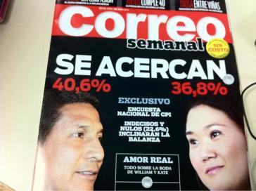 Titel der Zeitschrift Correo mit dem Ergebnis einer Wahlumfrage von Ende April. Links Humala und rechts Fujimori