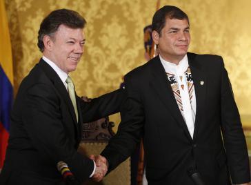 Die Präsidenten Santos und Correa