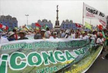 Proteste gegen das Conga-Projekt in Peru