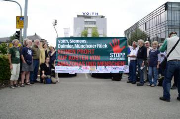 Protest gegen Belo Monte vor Voith-Zentrale