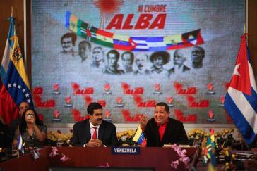 Der venezolanische Außenminister Nicolás Maduro (l.) und Präsident Hugo Chávez