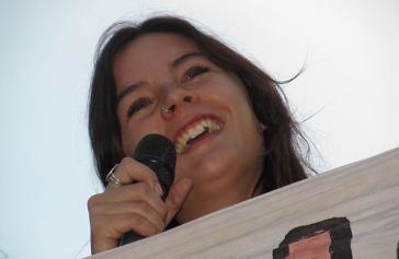 Camila Vallejo auf einer Demonstration am 6. November 2011