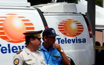 Von der Polizei in Nicaragua beschlagnahmte Lieferwagen mit Televisa-Logo