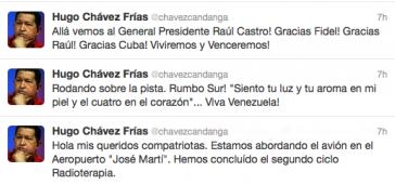Chávez' Einträge bei Twitter