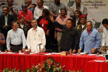 Präsident Chávez bei der Abschlussveranstaltung des Forums am Freitag