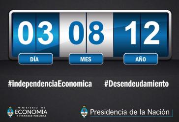 Countdown bis zum Ende der Schulden -- Standbild vond er Internetseite des argentinischen Wirtschaftsministeriums