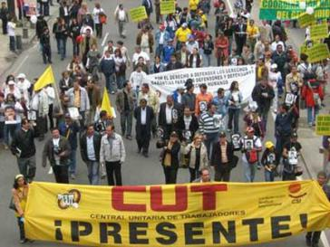 Demonstration des Gewerkschaftsverbandes CUT in Kolumbien