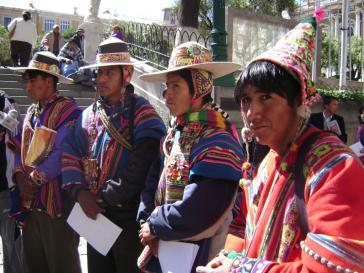Vor dem Regierungssitz in La Paz am 4. Juni: Eine Delegation der Bergbau-Gegner übergibt eine Petition für die Enteignung des SAS-Bergwerkes