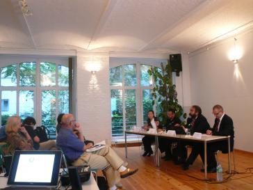 Blick auf das Podium: Liebing, Neuber, Jurado, Möller (v.l.n.r.)