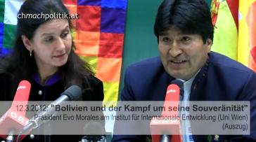 Evo Morales bei seinem Vortrag