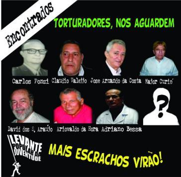 """""""Folterer: wartet auf uns ..."""": Plakat der Gruppe Levante Popular da Juventude"""
