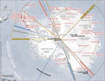 Forschungsstationen in der Antarktis und Markierung von Gebietsansprüchen