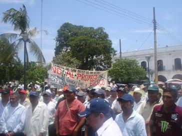 Demonstration gegen Windkraftanlagen in Oaxaca, 20. Mai 2012