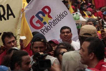 """Logo des """"Großen Patriotischen Pols"""" bei einer Demonstration in Venezuela"""