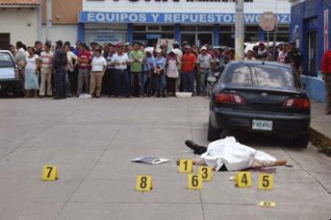 Tatort der Ermordung von Diaz Mazariego vor der Staatsanwaltschaft in Choluteca