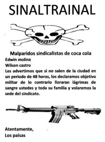 """Todesdrohung von der paramilitärischen Gruppe """"Los Paisas"""""""