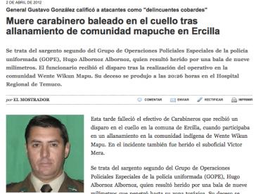 Bericht der Tageszeitung El Mostrador