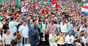 Fernando Lugo bei den Protesten