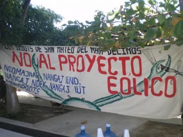 Protestaktion in San Dionisio del Mar gegen größtes Windkraftprojekt Lateinamerikas