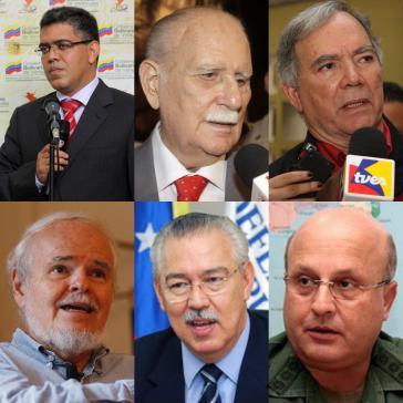 Mitglieder des Staatsrats (v.l.n.r.): Elías Jaua, José Vicente Rangel, Roy Chaderton Matos, Luis Brito García, Germán Mundaraín Hernández und Carlos Rafael Giacopini