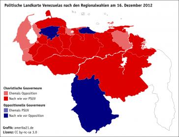 Politische Landkarte nach den Regionalwahlen in Venezuela am 16. Dezember 2012