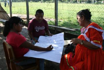 Arbeitsgruppe der Maya Ch'orti' während des Workshops