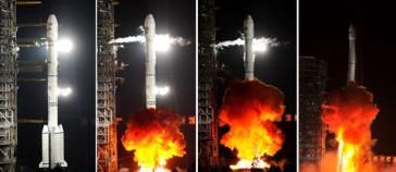 Raketenstart des bolivianischen Satelliten.
