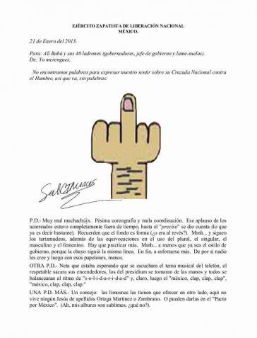 Die EZLN zeigt der Regierung in einem Kommuniqué den Stinkefinger