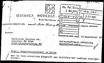 """Fax der Hoechst AG aus Chile: """"Der so lang erwartete Eingriff der Militärs hat endlich stattgefunden""""."""