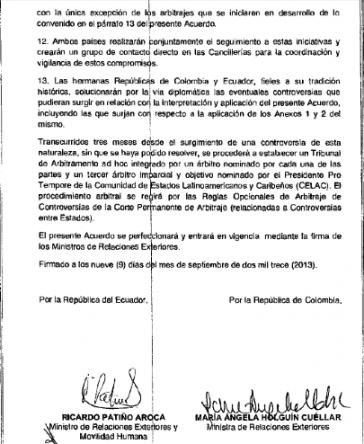 Seite des Abkommens mit den Unterschriften des Außenminister von Ecuador und seiner kolumbianischen Amtskollegin