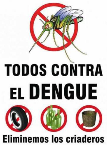 Kampagnenplakat gegen Dengue in Ecuador. Die Brut der Überträger-Stechmücke braucht zur Entwicklung nur kleine Wasseransammlungen