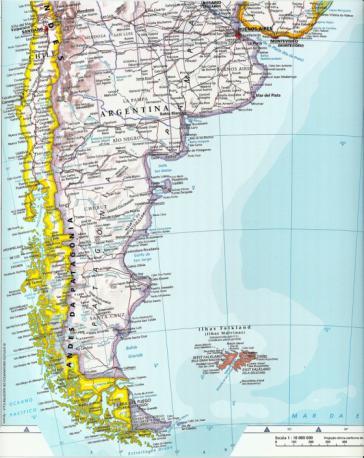 Argentinien, unten auf der Karte die Malwinen