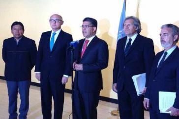 Die Mercosur-Außenminister vor ihrem Treffen mit UN- Generalsekretär Ban-Ki-Moon