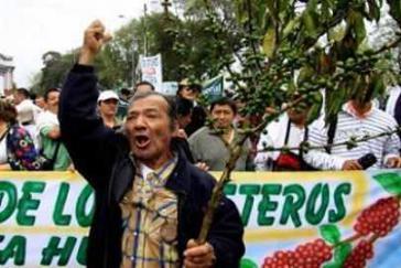 Fordern unter anderem einen Mindestpreis für Kaffee: Streikende Kaffeebauern