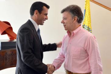 Henrique Capriles Radonski und Kolumbiens Präsident Juan Manuel Santos am Mittwoch in Bogotá