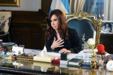 Präsidentin Fernández bei der TV-Ansprache am Montagabend
