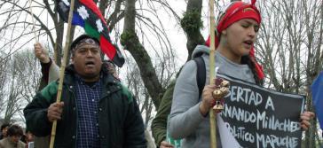 Demonstranten fordern die Freilassung des politischen Gefangenen Fernando Millacheo