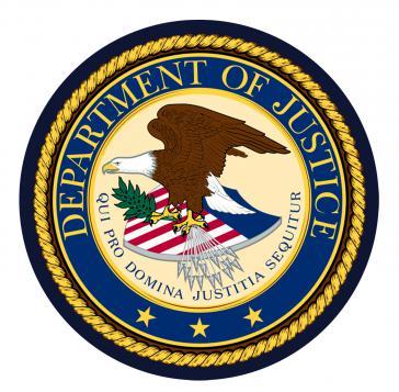 Siegel des US-Justizministeriums DOS.
