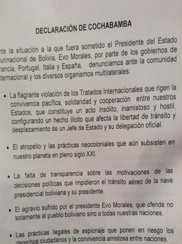 Erklärung von Cochabamba (1)