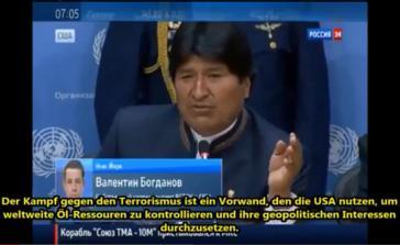 Evo Morales spricht in New York auf der 68. Vollversammlung der Vereinten Nationen