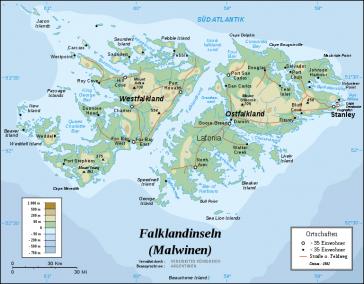 Karte der Malwinen/Falklandinseln
