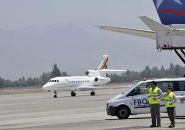 Boliviens Präsidialmaschine auf dem Rückflug beim Zwischenstopp auf den Kanaren