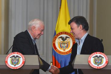 Jimmy Carter und Juan Manuel Santos sprechen über den Friedensprozess in Kolumbien