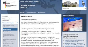 Homepage der Botschaft in Havanna mit Angaben zu Einreisebestimmungen