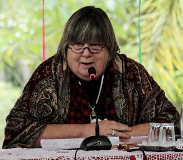 Die Philosophin und Bewegungsforscherin Isabel Rauber aus Argentinien war Referentin beim kontinentalen Treffen