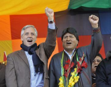 Vizepräsident Álvaro García Linera und Präsident Evo Morales bei der Kundgebung am 1. Mai in La Paz