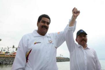 Die Präsidenten Venezuelas und Nicaraguas, Nicolás Maduro und Daniel Ortega am Sonntag in Managua