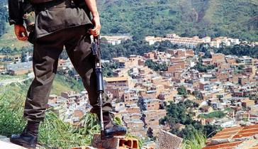 Blick auf die Comuna 13 in Medellín