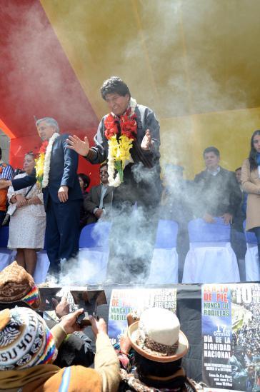 Evo Morales und Viezepäsident Alváro García Linera in El Alto