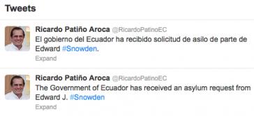 Twitter-Meldungen von Ecuadors Außenminister Ricardo Patiño
